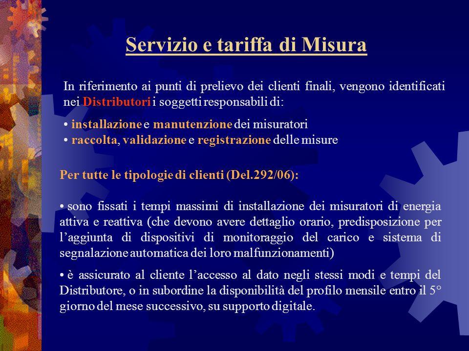 Servizio e tariffa di Misura In riferimento ai punti di prelievo dei clienti finali, vengono identificati nei Distributori i soggetti responsabili di: