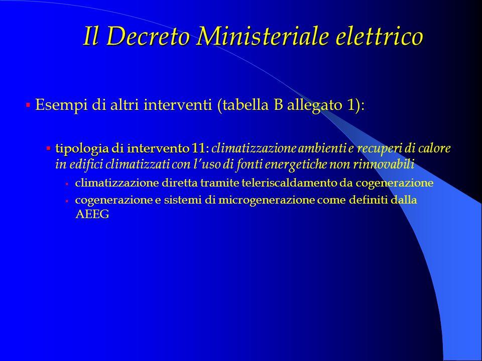 Il Decreto Ministeriale elettrico Esempi di altri interventi (tabella B allegato 1): tipologia di intervento 11 tipologia di intervento 11: climatizza
