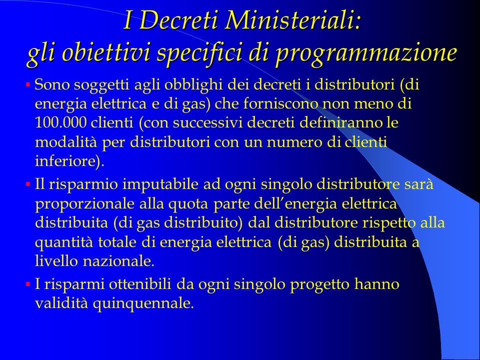 I Decreti Ministeriali: gli obiettivi specifici di programmazione Sono soggetti agli obblighi dei decreti i distributori (di energia elettrica e di ga