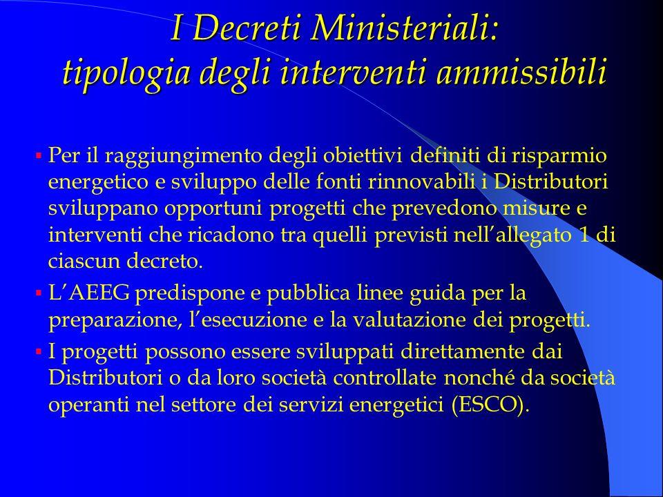 I Decreti Ministeriali: tipologia degli interventi ammissibili Per il raggiungimento degli obiettivi definiti di risparmio energetico e sviluppo delle