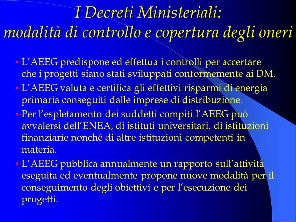 I Decreti Ministeriali: modalità di controllo e copertura degli oneri LAEEG predispone ed effettua i controlli per accertare che i progetti siano stat