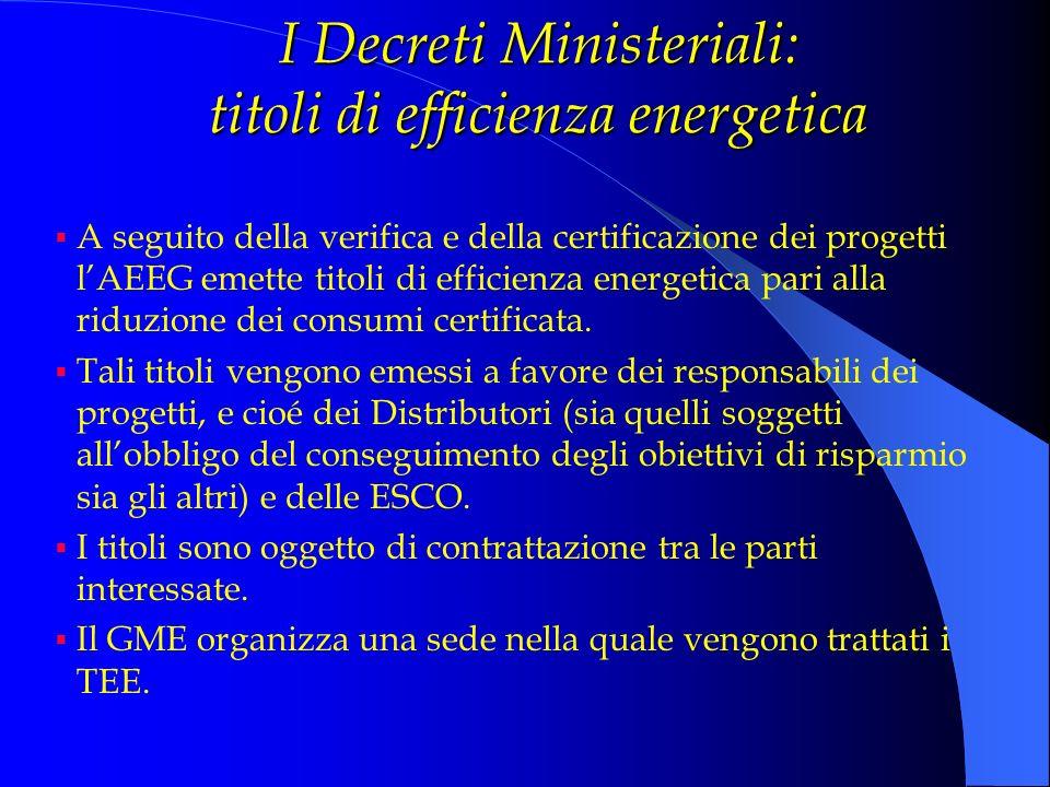 I Decreti Ministeriali: titoli di efficienza energetica A seguito della verifica e della certificazione dei progetti lAEEG emette titoli di efficienza