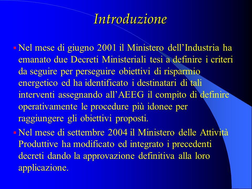 Introduzione Nel mese di giugno 2001 il Ministero dellIndustria ha emanato due Decreti Ministeriali tesi a definire i criteri da seguire per perseguir