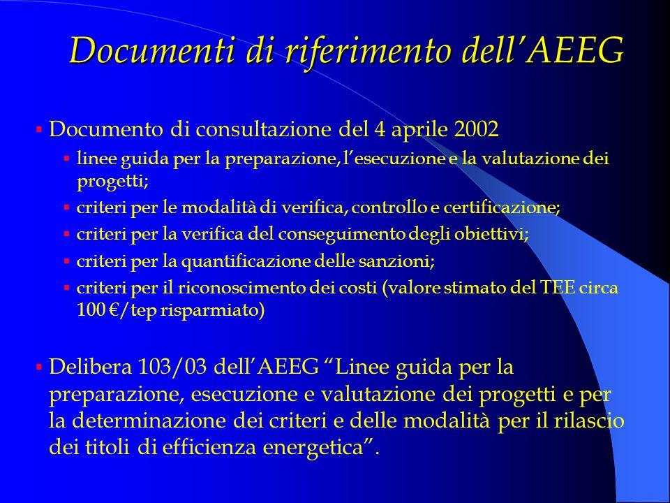 Documenti di riferimento dellAEEG Documento di consultazione del 4 aprile 2002 linee guida per la preparazione, lesecuzione e la valutazione dei proge