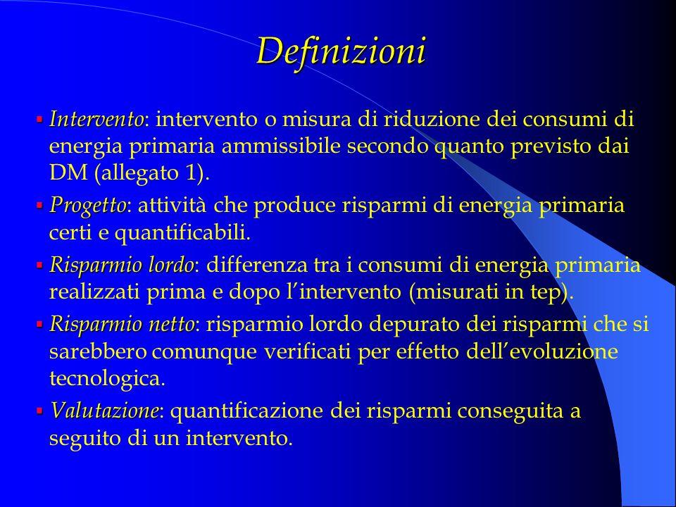 Definizioni Intervento Intervento : intervento o misura di riduzione dei consumi di energia primaria ammissibile secondo quanto previsto dai DM (alleg