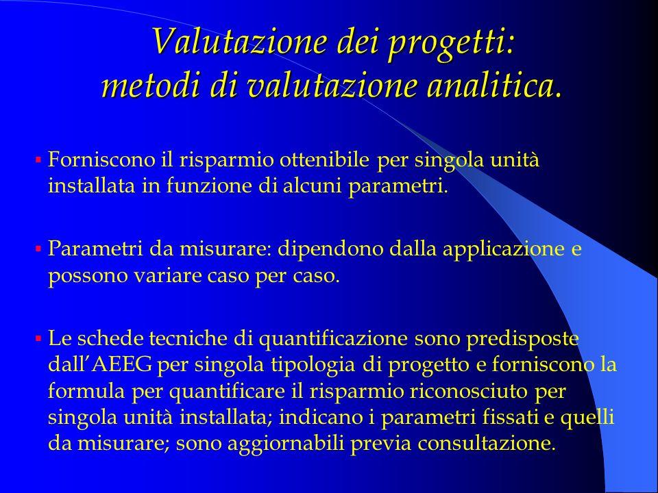 Valutazione dei progetti: metodi di valutazione analitica. Forniscono il risparmio ottenibile per singola unità installata in funzione di alcuni param