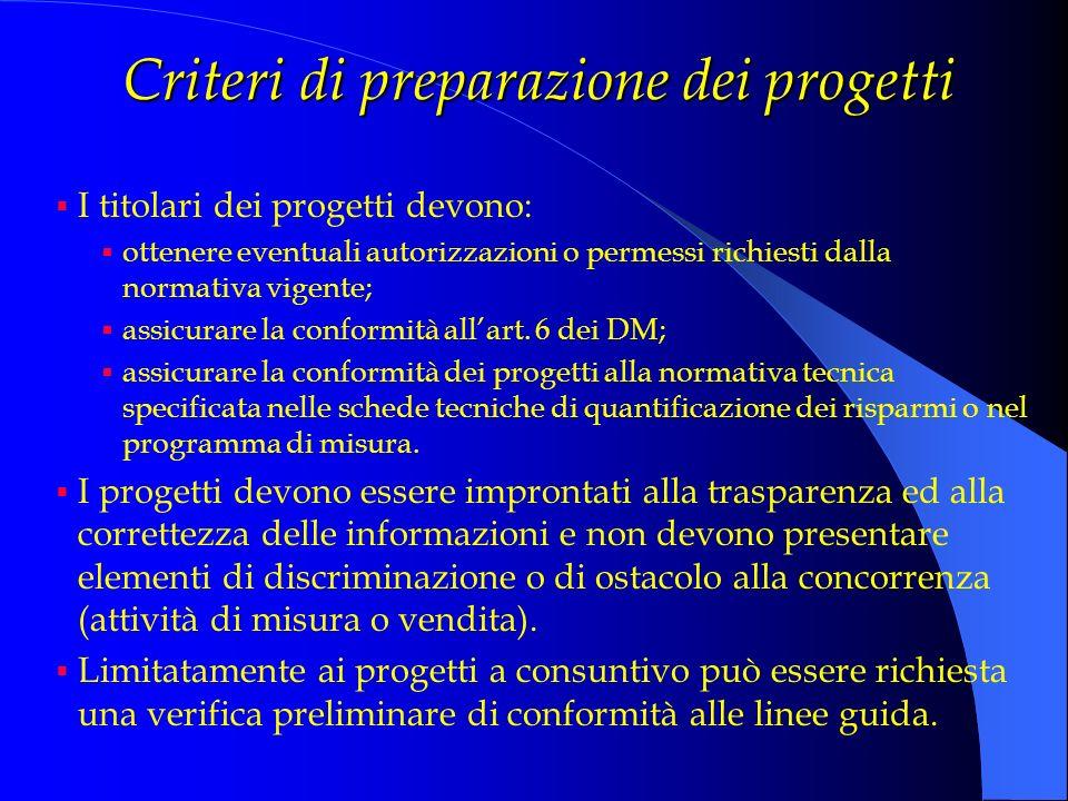 Criteri di preparazione dei progetti I titolari dei progetti devono: ottenere eventuali autorizzazioni o permessi richiesti dalla normativa vigente; a