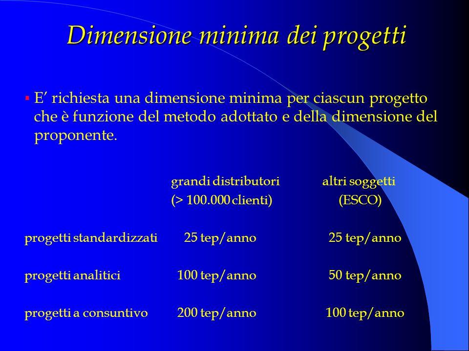 Dimensione minima dei progetti E richiesta una dimensione minima per ciascun progetto che è funzione del metodo adottato e della dimensione del propon