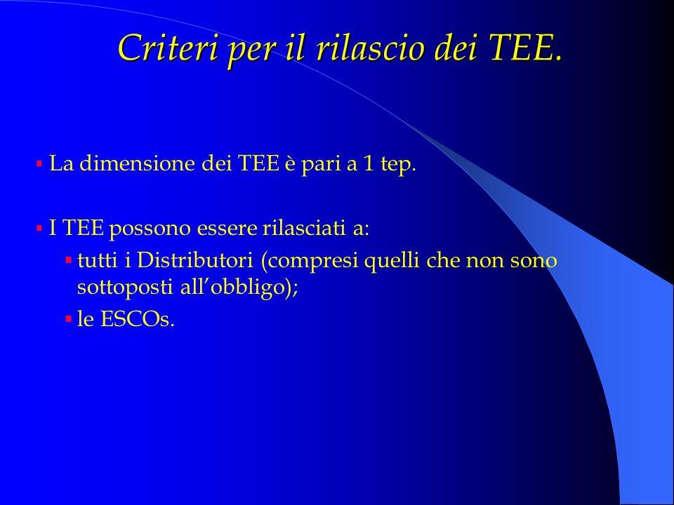 Criteri per il rilascio dei TEE. La dimensione dei TEE è pari a 1 tep. I TEE possono essere rilasciati a: tutti i Distributori (compresi quelli che no