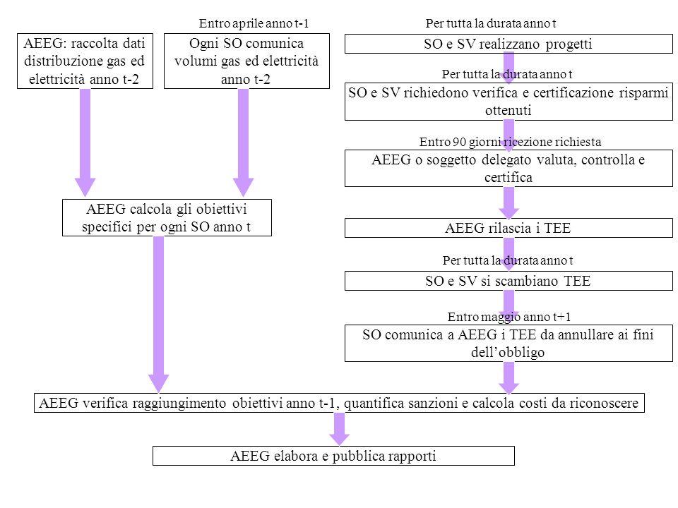 AEEG: raccolta dati distribuzione gas ed elettricità anno t-2 Ogni SO comunica volumi gas ed elettricità anno t-2 Entro aprile anno t-1 SO e SV realiz