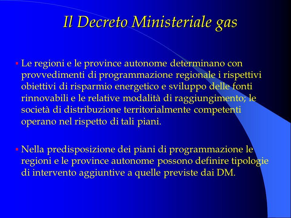 Il Decreto Ministeriale gas Le regioni e le province autonome determinano con provvedimenti di programmazione regionale i rispettivi obiettivi di risp