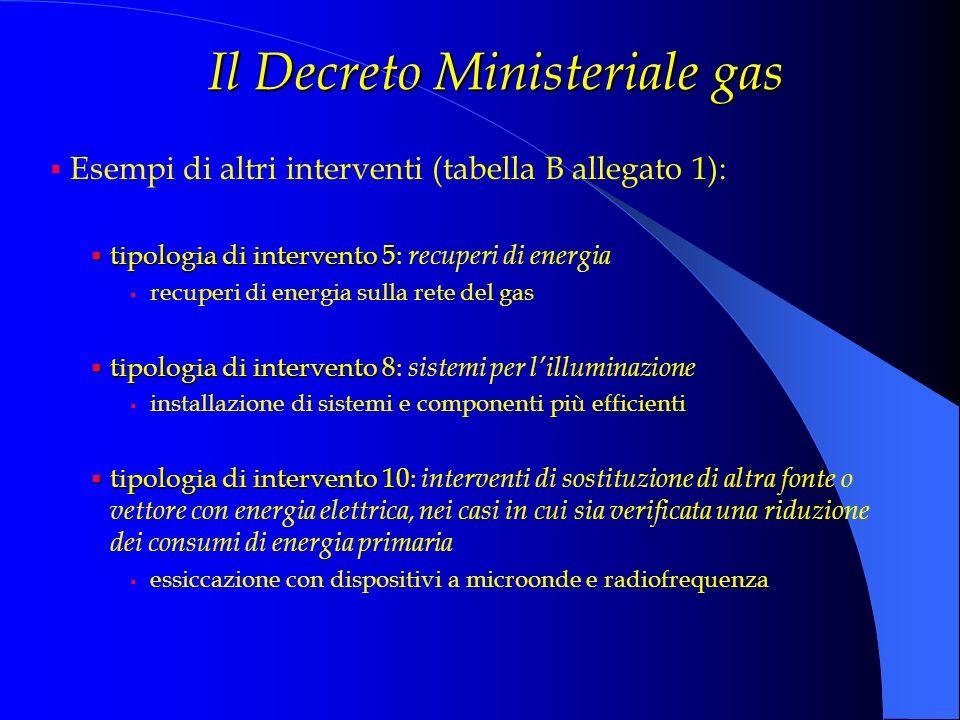 Il Decreto Ministeriale gas Esempi di altri interventi (tabella B allegato 1): tipologia di intervento 5 tipologia di intervento 5: recuperi di energi