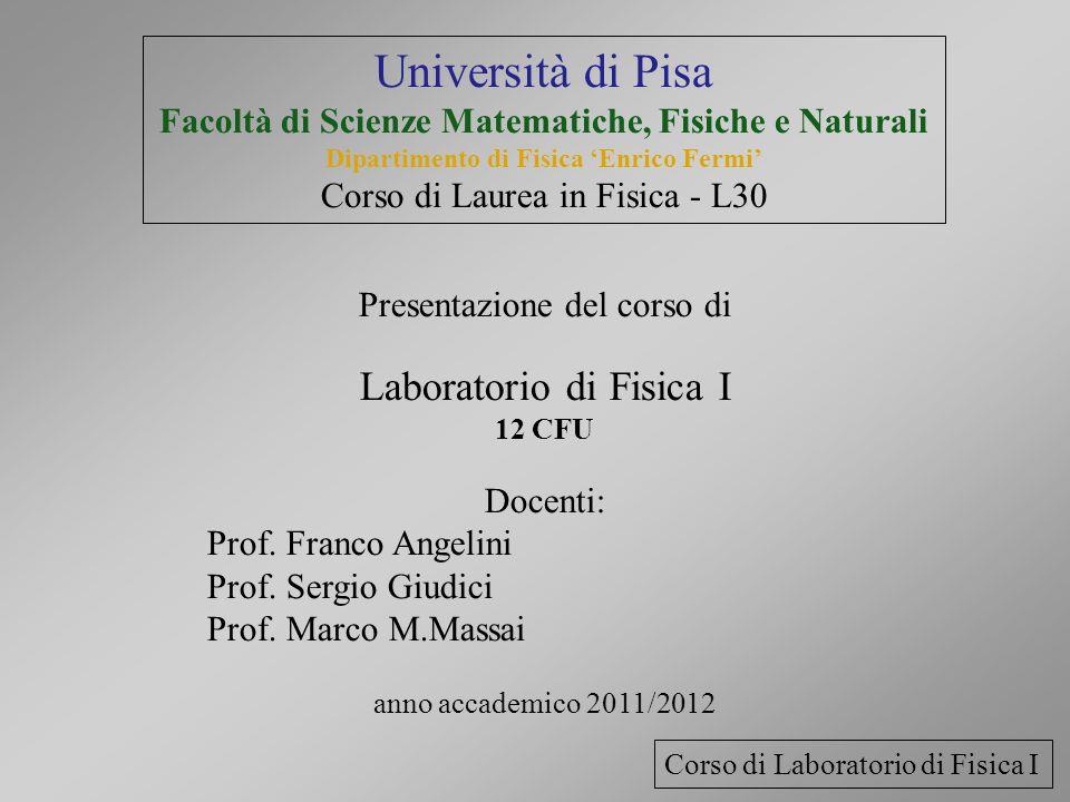 Università di Pisa Facoltà di Scienze Matematiche, Fisiche e Naturali Dipartimento di Fisica Enrico Fermi Corso di Laurea in Fisica - L30 Presentazion