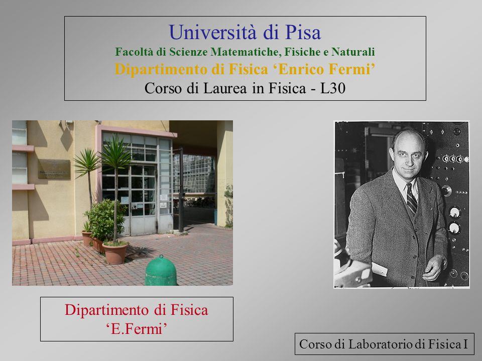 Dipartimento di Fisica E.Fermi Corso di Laboratorio di Fisica I Università di Pisa Facoltà di Scienze Matematiche, Fisiche e Naturali Dipartimento di