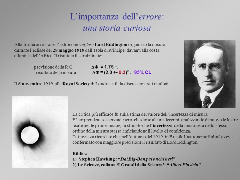 Alla prima occasione, lastronomo inglese Lord Eddington organizzò la misura durante leclisse del 29 maggio 1919 dallIsola di Principe, davanti alla co