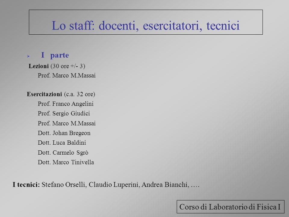 Lo staff: docenti, esercitatori, tecnici I parte Lezioni (30 ore +/- 3) Prof. Marco M.Massai Esercitazioni (c.a. 32 ore) Prof. Franco Angelini Prof. S
