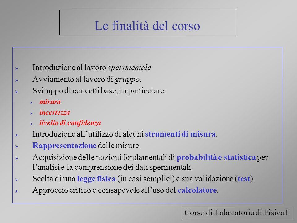 Le finalità del corso Introduzione al lavoro sperimentale Avviamento al lavoro di gruppo. Sviluppo di concetti base, in particolare: misura incertezza