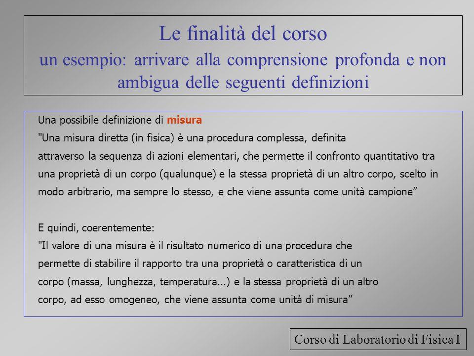 Le finalità del corso un esempio: arrivare alla comprensione profonda e non ambigua delle seguenti definizioni Una possibile definizione di misura
