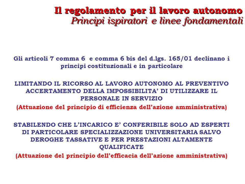 CIRCOSCRIVENDO IL RICORSO AL LAVORO AUTONOMO PER OBIETTIVI E PROGETTI SPECIFICI NELLAMBITO DELLE COMPETENZE ATTRIBUITE DALLORDINAMENTO ALLAMMINISTRAZIONE CONFERENTE (Attuazione del principio di legalità dellazione amministrativa) PREVEDENDO CHE LE AMMINISTRAZIONI DISCIPLININO E RENDANO PUBBLICHE, PROCEDURE COMPARATIVE PER IL CONFERIMENTO DEGLI INCARICHI DI LAVORO AUTONOMO (Attuazione del principio di imparzialità dellazione amministrativa – PUBBLICITA E TRASPARENZA) Il regolamento per il lavoro autonomo Principi ispiratori e linee fondamentali Il regolamento per il lavoro autonomo Principi ispiratori e linee fondamentali