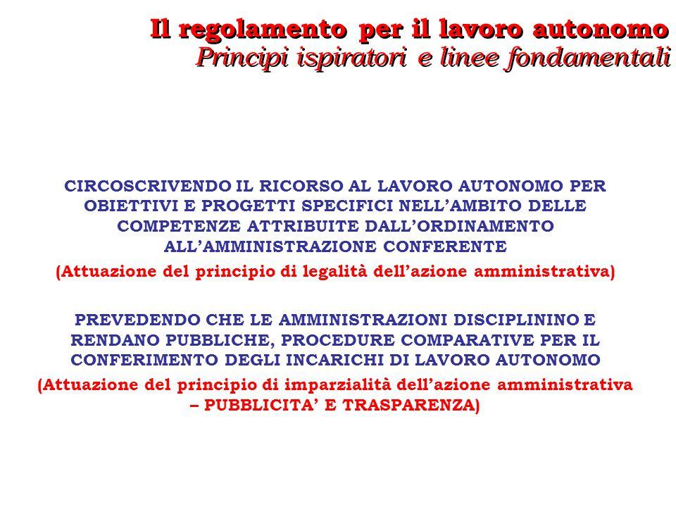 Il regolamento per il lavoro autonomo Principi ispiratori e linee fondamentali Il regolamento per il lavoro autonomo Principi ispiratori e linee fondamentali AMBITO SOGGETTIVO DI APPLICAZIONE Larticolo 2 del regolamento definisce in termini di incompatibilità lambito soggettivo di applicazione del nuovo regolamento… Non possono essere titolari di un incarico di lavoro autonomo: I SOGGETTI SPROVVISTI DI COMPROVATA SPECIALIZZAZIONE UNIVERSITARIA E DI PREGRESSA ESPERIENZA PROFESSIONALE NEL SETTORE OGGETTO DELLINCARICO Sono fatte salve le deroghe previste dalla legge, ossia: - le eccezioni tassative di cui allarticolo 7 comma 6, ossia prestazioni che debbano essere svolte da iscritti ad ordini o ad albi o da soggetti che operino nel campo dellarte, dello spettacolo, dei mestieri artigianali o dellattività informatica nonché a supporto dellattività didattica e di ricerca, per i servizi di orientamento, compreso il collocamento, e di certificazione dei contratti di lavoro di cui al decreto legislativo 10 settembre 2003, n.
