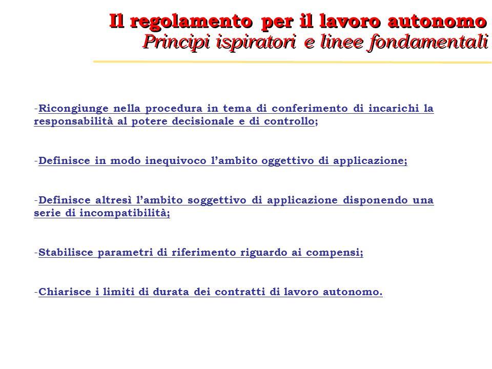 Il regolamento per il lavoro autonomo Principi ispiratori e linee fondamentali Il regolamento per il lavoro autonomo Principi ispiratori e linee fondamentali AMBITO OGGETTIVO DI APPLICAZIONE Secondo larticolo 1 comma 1 del regolamento lo stesso disciplina > e al comma 2 specifica che >