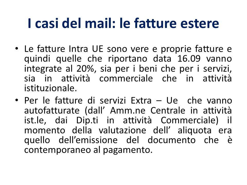 I casi del mail: le fatture estere Le fatture Intra UE sono vere e proprie fatture e quindi quelle che riportano data 16.09 vanno integrate al 20%, sia per i beni che per i servizi, sia in attività commerciale che in attività istituzionale.