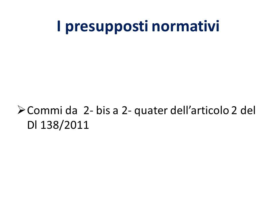 I presupposti normativi Commi da 2- bis a 2- quater dellarticolo 2 del Dl 138/2011