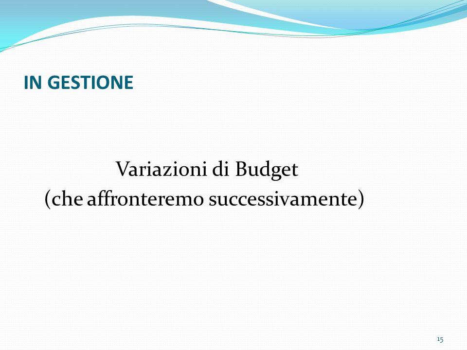 IN GESTIONE Variazioni di Budget (che affronteremo successivamente) 15