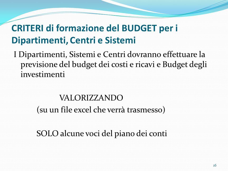 CRITERI di formazione del BUDGET per i Dipartimenti, Centri e Sistemi I Dipartimenti, Sistemi e Centri dovranno effettuare la previsione del budget de