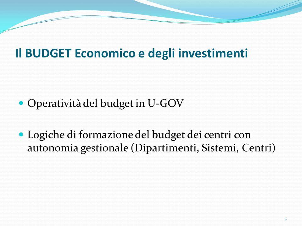 Il BUDGET Economico e degli investimenti Operatività del budget in U-GOV Logiche di formazione del budget dei centri con autonomia gestionale (Diparti