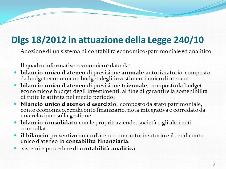 Dlgs 18/2012 in attuazione della Legge 240/10 Adozione di un sistema di contabilità economico-patrimoniale ed analitico Il quadro informativo economic