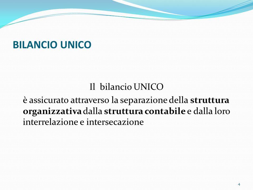 BILANCIO UNICO Il bilancio UNICO è assicurato attraverso la separazione della struttura organizzativa dalla struttura contabile e dalla loro interrela