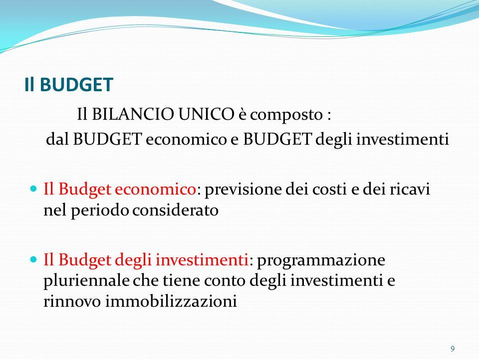 Il BUDGET Il BILANCIO UNICO è composto : dal BUDGET economico e BUDGET degli investimenti Il Budget economico: previsione dei costi e dei ricavi nel p