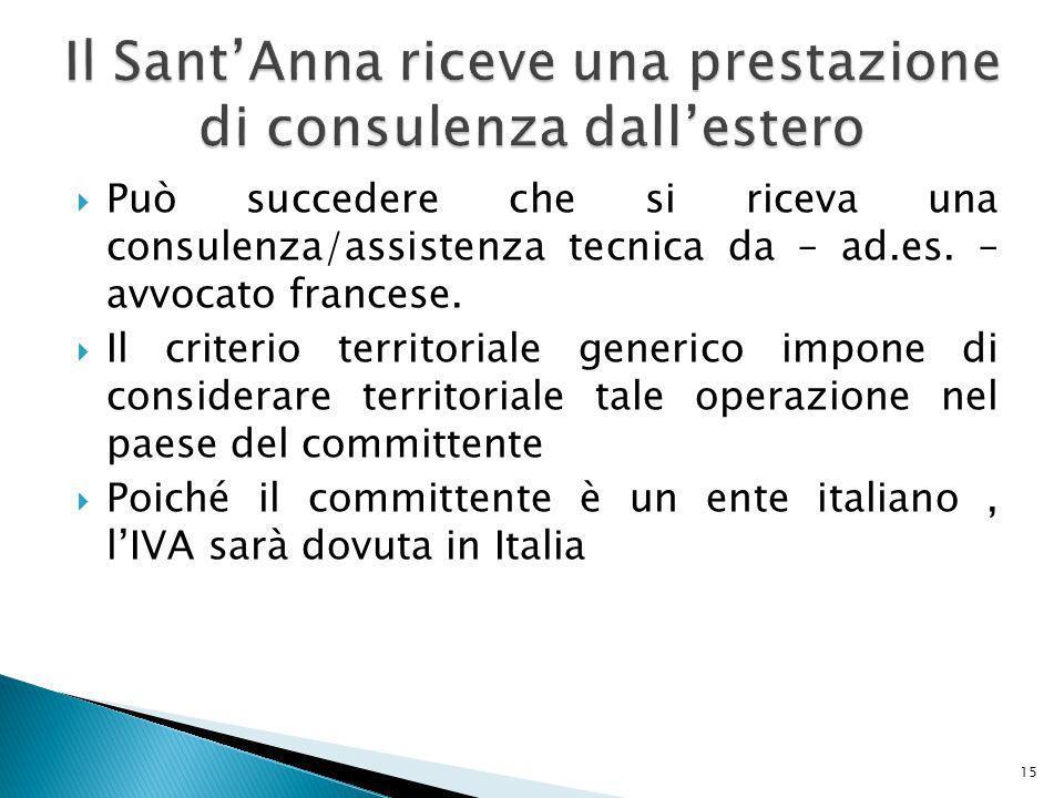 Può succedere che si riceva una consulenza/assistenza tecnica da – ad.es.