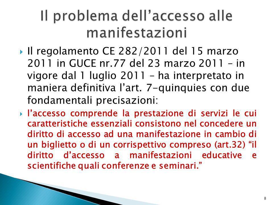 Il regolamento CE 282/2011 del 15 marzo 2011 in GUCE nr.77 del 23 marzo 2011 – in vigore dal 1 luglio 2011 – ha interpretato in maniera definitiva lart.