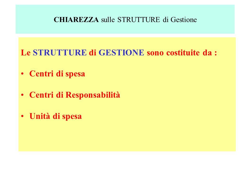 Le STRUTTURE di GESTIONE sono costituite da : Centri di spesa Centri di Responsabilità Unità di spesa CHIAREZZA sulle STRUTTURE di Gestione