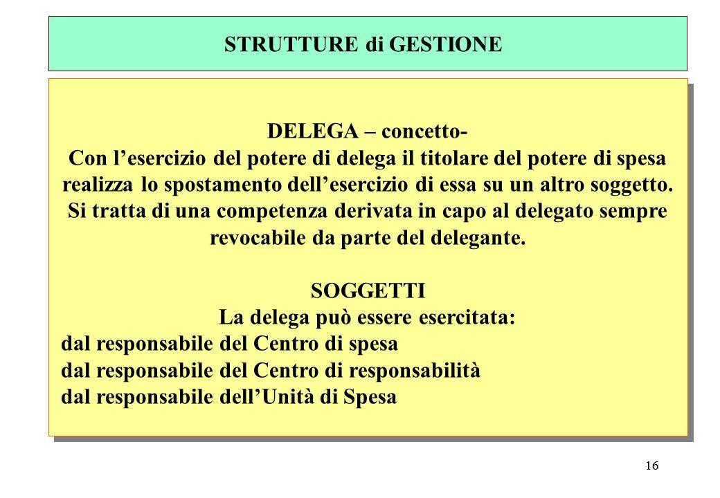 16 DELEGA – concetto- Con lesercizio del potere di delega il titolare del potere di spesa realizza lo spostamento dellesercizio di essa su un altro soggetto.