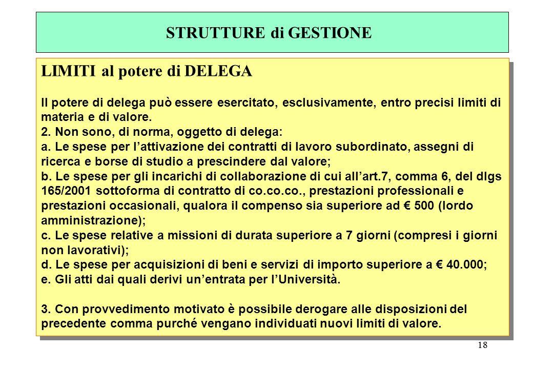 18 LIMITI al potere di DELEGA Il potere di delega può essere esercitato, esclusivamente, entro precisi limiti di materia e di valore.