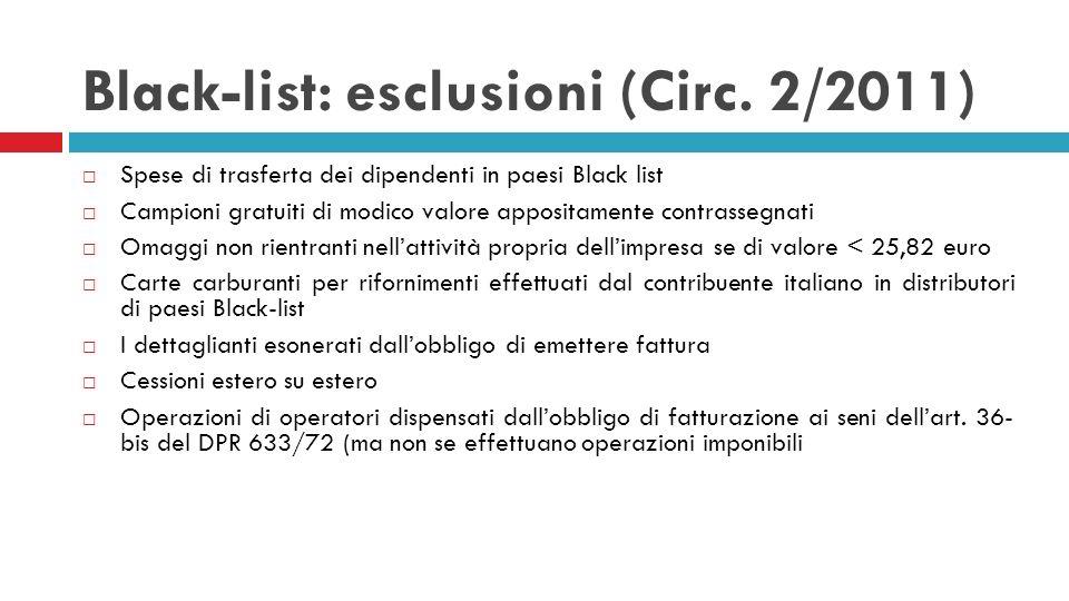 Black-list: esclusioni (Circ. 2/2011) Spese di trasferta dei dipendenti in paesi Black list Campioni gratuiti di modico valore appositamente contrasse