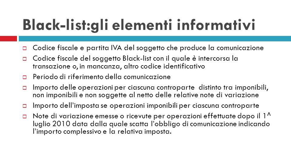Black-list:gli elementi informativi Codice fiscale e partita IVA del soggetto che produce la comunicazione Codice fiscale del soggetto Black-list con