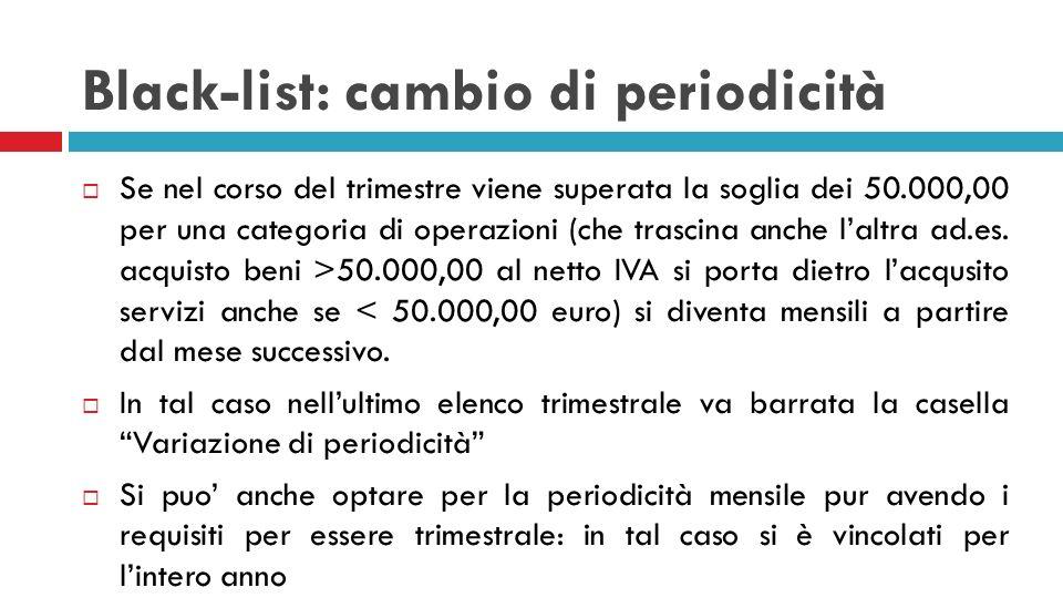 Black-list: cambio di periodicità Se nel corso del trimestre viene superata la soglia dei 50.000,00 per una categoria di operazioni (che trascina anch