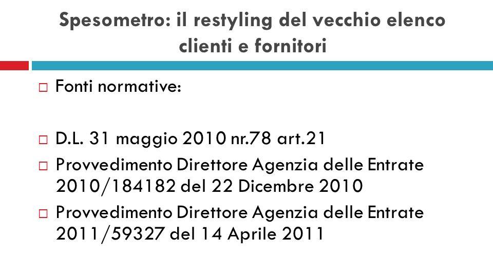 Spesometro: il restyling del vecchio elenco clienti e fornitori Fonti normative: D.L. 31 maggio 2010 nr.78 art.21 Provvedimento Direttore Agenzia dell