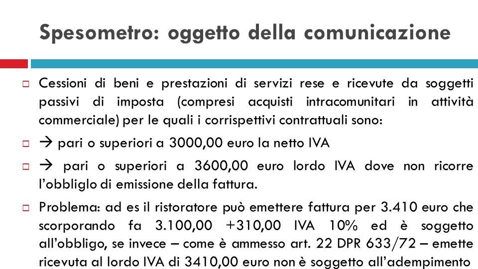 Spesometro: oggetto della comunicazione Cessioni di beni e prestazioni di servizi rese e ricevute da soggetti passivi di imposta (compresi acquisti in