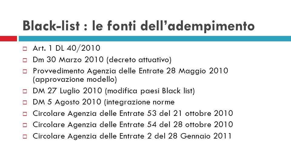 Black-list : le fonti delladempimento Art. 1 DL 40/2010 Dm 30 Marzo 2010 (decreto attuativo) Provvedimento Agenzia delle Entrate 28 Maggio 2010 (appro