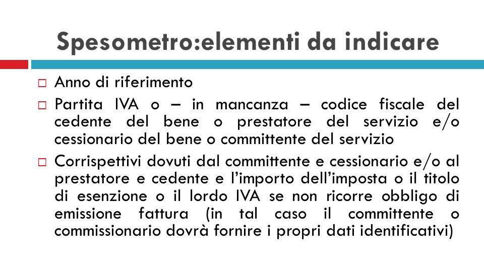 Spesometro:elementi da indicare Anno di riferimento Partita IVA o – in mancanza – codice fiscale del cedente del bene o prestatore del servizio e/o ce