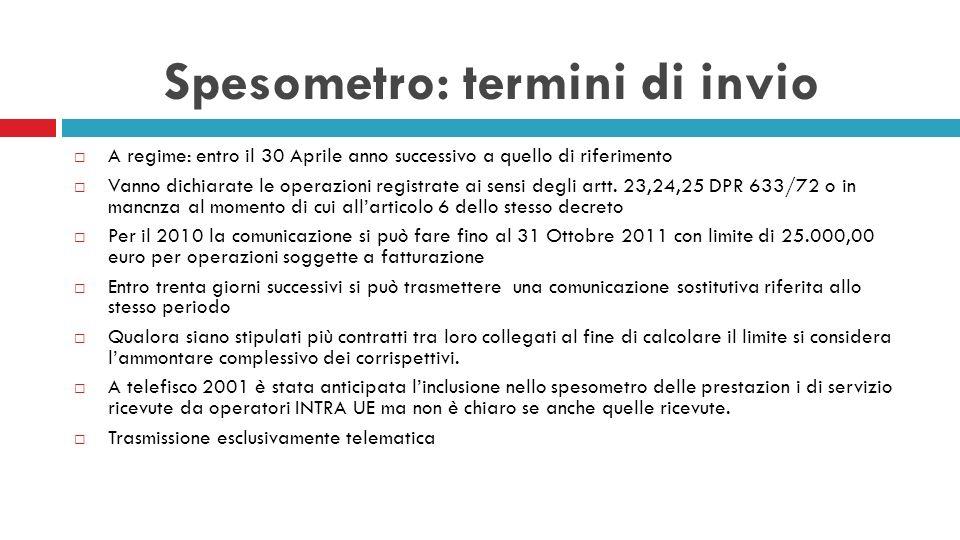 Spesometro: termini di invio A regime: entro il 30 Aprile anno successivo a quello di riferimento Vanno dichiarate le operazioni registrate ai sensi d