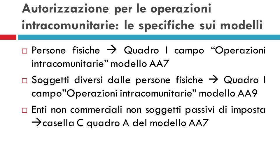 Autorizzazione per le operazioni intracomunitarie: le specifiche sui modelli Persone fisiche Quadro I campo Operazioni intracomunitarie modello AA7 So