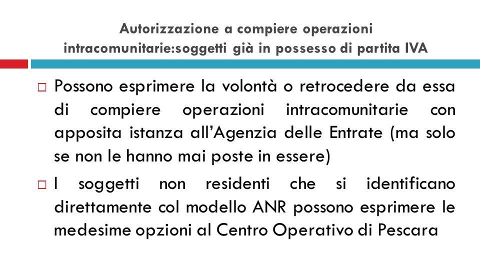 Autorizzazione a compiere operazioni intracomunitarie:soggetti già in possesso di partita IVA Possono esprimere la volontà o retrocedere da essa di co