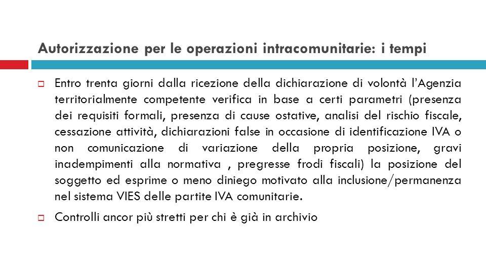Autorizzazione per le operazioni intracomunitarie: i tempi Entro trenta giorni dalla ricezione della dichiarazione di volontà lAgenzia territorialment
