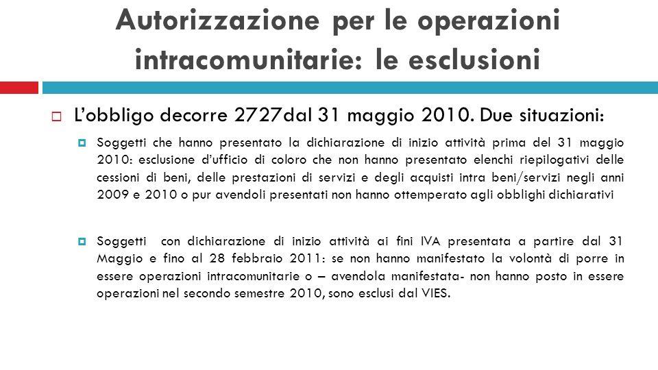Autorizzazione per le operazioni intracomunitarie: le esclusioni Lobbligo decorre 2727dal 31 maggio 2010. Due situazioni: Soggetti che hanno presentat